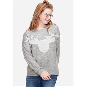 Justice L/S Critter Sweater Deer with Pom-Pom Nose
